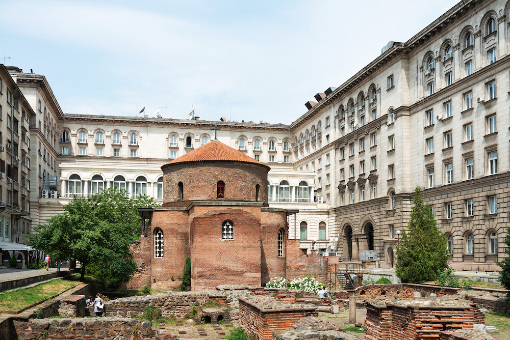 SOFIA, BULGARIA - Church of St George is an Early Christian red brick rotunda that is considered the oldest building in Sofia