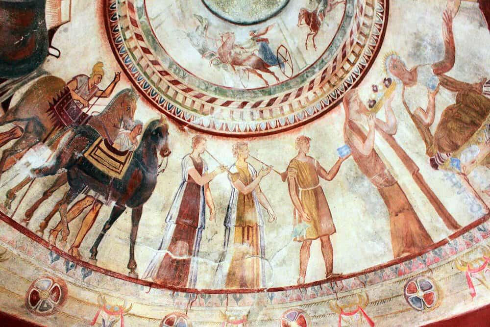 Kazanlak Bulgaria - Detail of Fresco in the 4th century BCE Thracian Tomb of Kazanlak an UNESCO World Heritage Site.