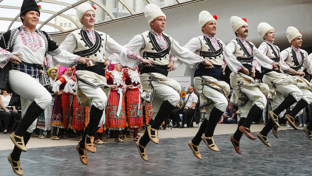 SOFIA, BULGARIA - People in traditional costumes dance bulgarian dance ''horo'' in Sofia, Bulgaria.