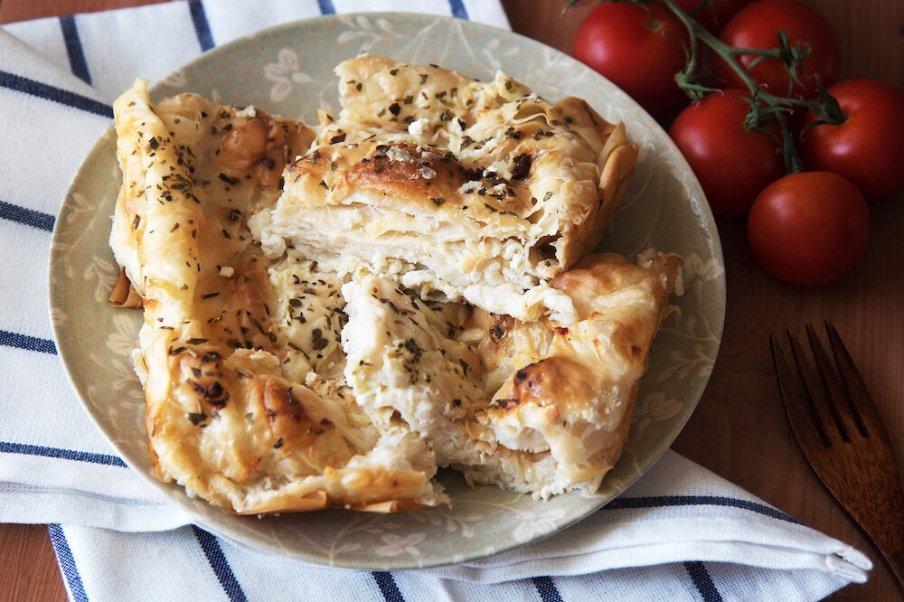 Traditional Bulgarian homemade Banitsa. Pie with feta cheese.