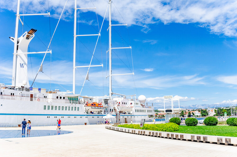 ZADAR, CROATIA - Large cruise sailing ship in the port on the embankment of the city of Zadar.