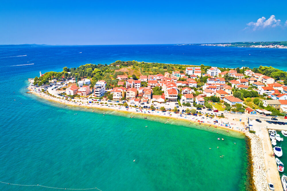 Puntamika peninsula in Zadar waterfront aerial summer view, Dalmatia region of Croatia