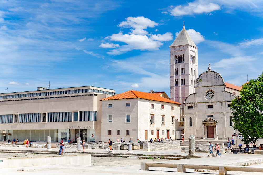 ZADAR, CROATIA - St. Donat church, forum and Cathedral of St. Anastasia bell tower in Zadar, Croatia