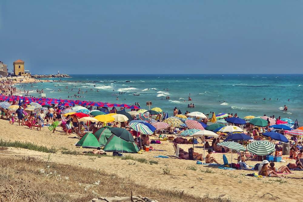 Beautiful view of the Sicilian beach of San Leone Agrigento