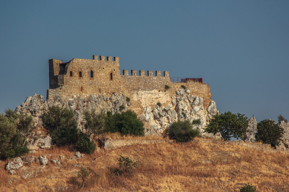 Castle Delia in Sicily, a military fortification, the vanguard of the provinces of Sicily South