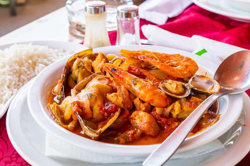 Classic portuguese sea food cataplana in Albufeira, Portugal.