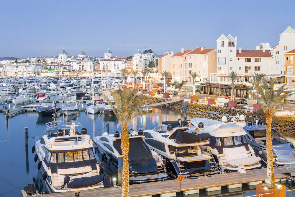 Marina with luxurious yachts and sailboats in Vilamoura, Quarteira, Algarve, Portugal