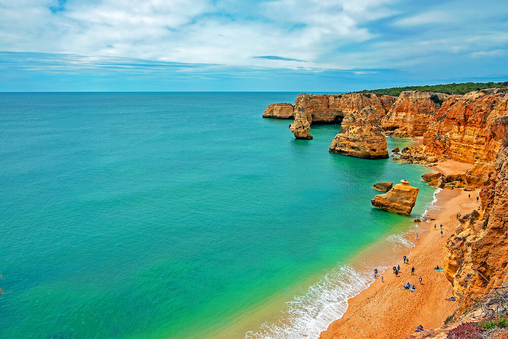 View on Praia da Marinha in the Algarve Portugal