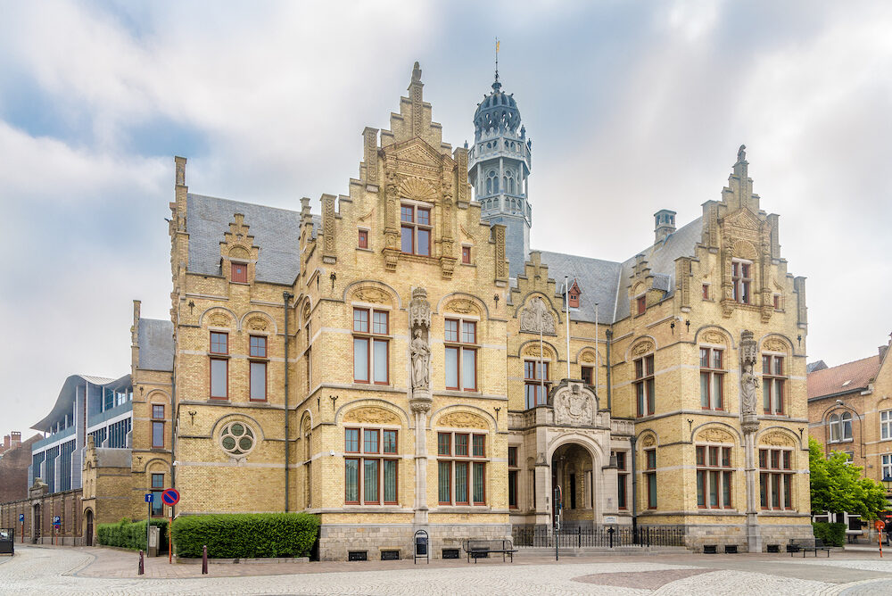 YPRES,BELGIUM - - View at the building of Courthouse in Ypres. Ypres is a Belgian municipality in the province of West Flanders.
