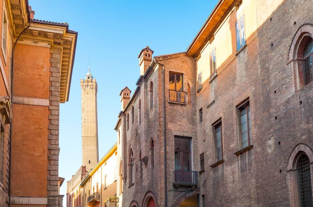 Italy Bologna the Degli Asinelli tower seen from Castiglione street