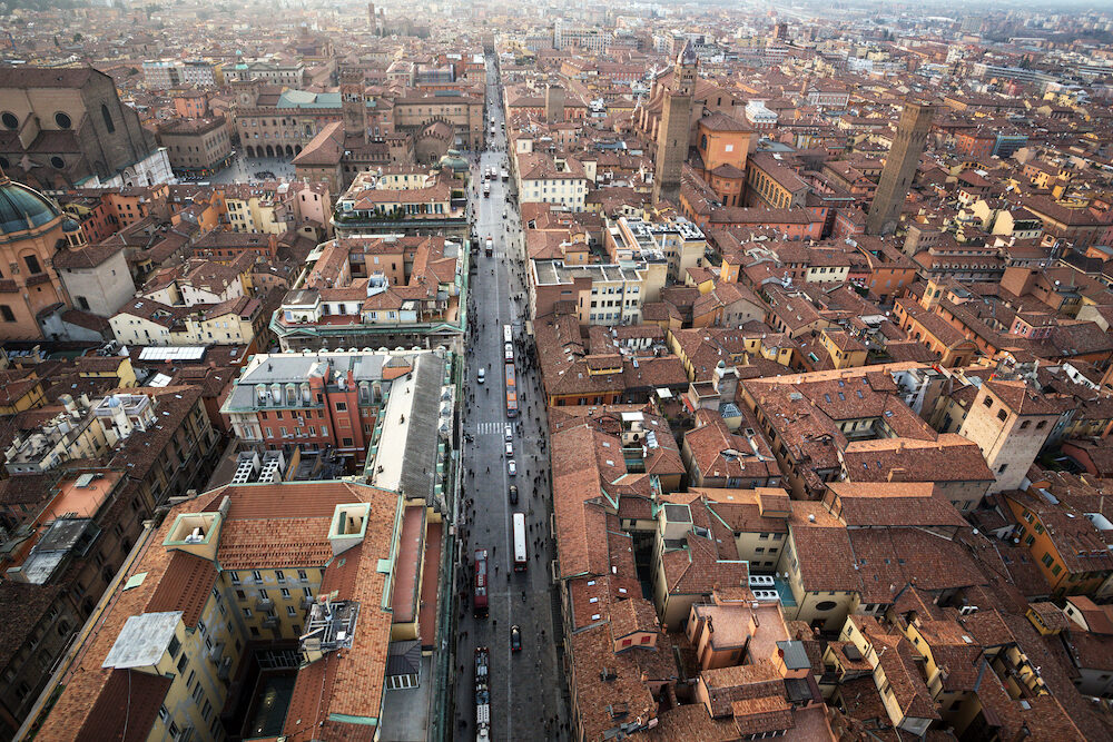 a top view of the historic center of Bologna, Italy