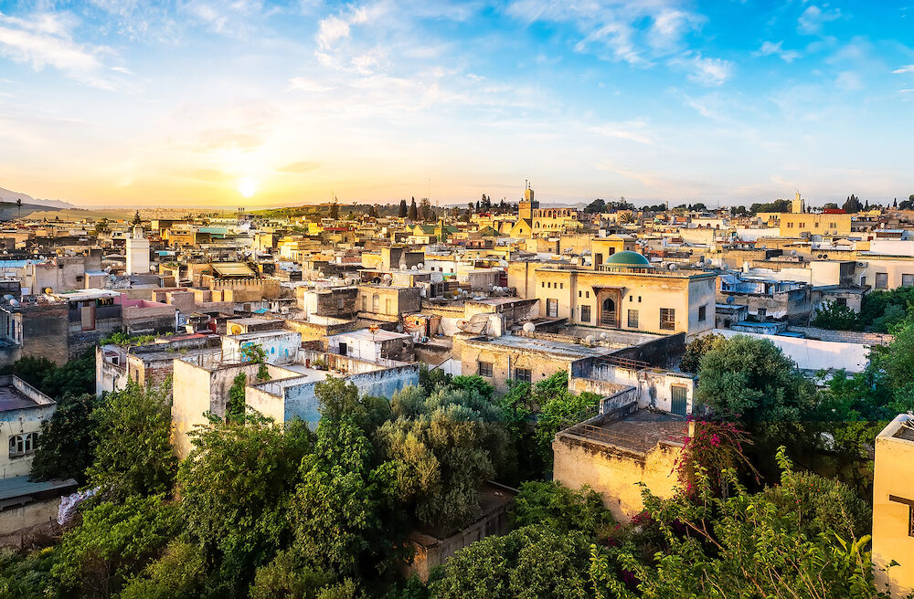 Panorama of Old Medina in Fes city, Morocco