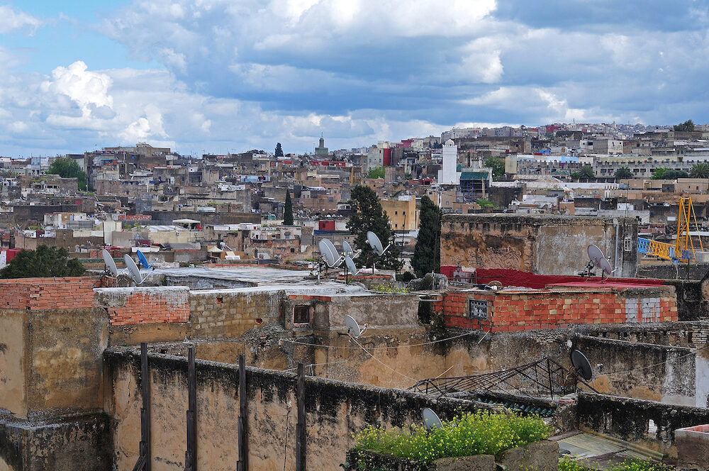 view over old town of Fes in Morocco