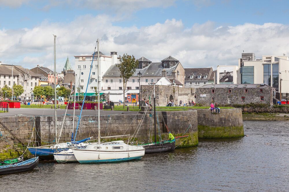 GALWAY, IRELAND - A view from the Claddagh, across the River Corrib, towards The Spanish Steps in Galway, Ireland.