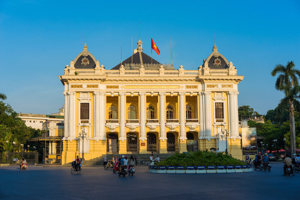 Hanoi, Vietnam - Hanoi Opera House in clear evening, modeled on the Palais Garnier, the older of Paris's two opera houses, and is considered to be one of the architectural landmarks of Hanoi