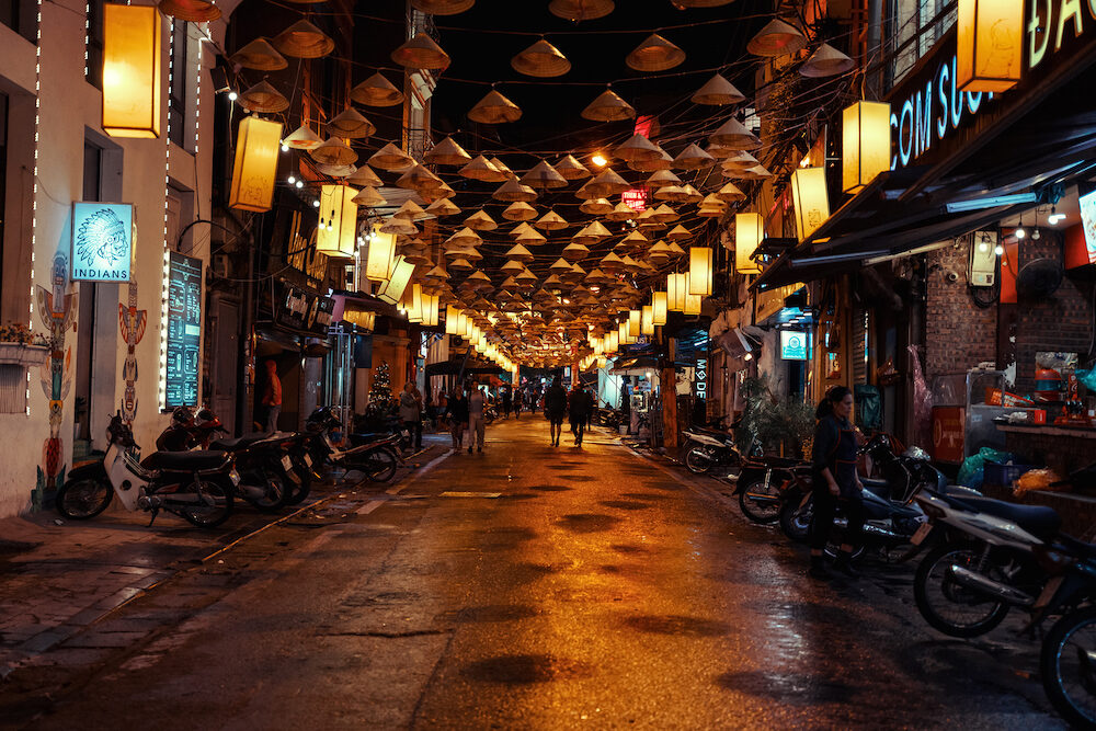Hanoi, Vietnam - Hanoi city center street old town district at night