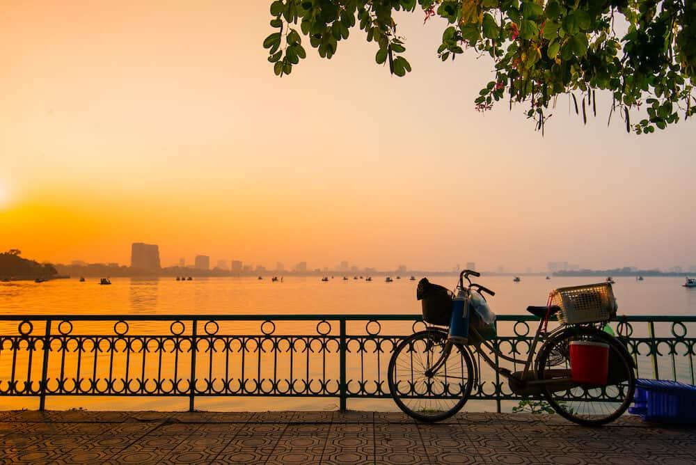 HANOI, VIETNAM, Sunset in West Lake (Ho Tay) in Hanoi. West Lake is a biggest lake in Hanoi, Vietnam.