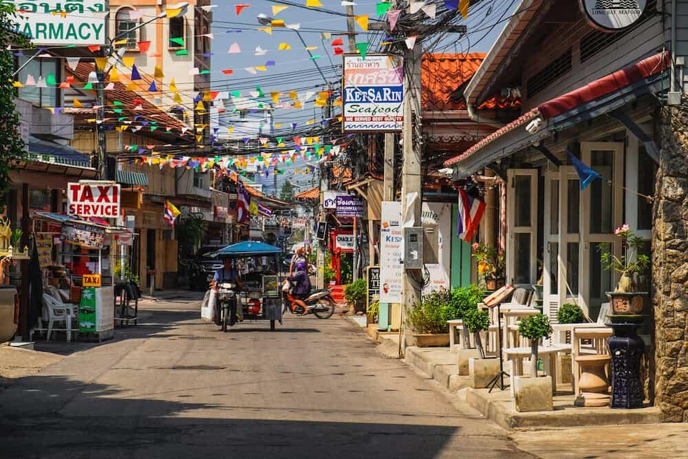 Hua Hin, Thailand - : Typical street scene in Hua Hin. Hua Hin is a beach resort town near Bangkok, Thailand.