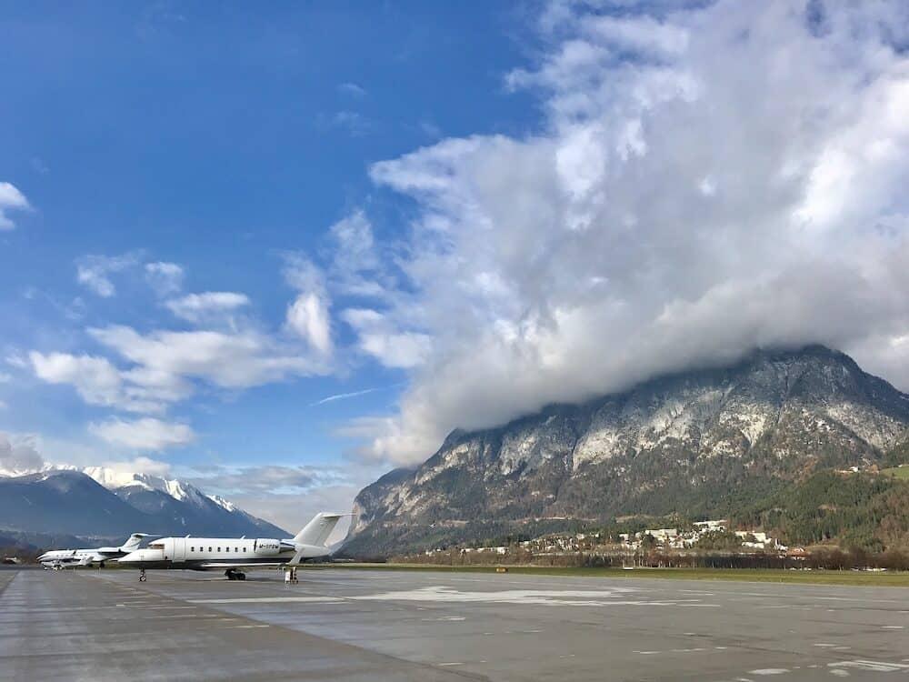 INNSBRUCK - : Aircraft on the apron at Innsbruck Airport in Innsbruck, Austria.