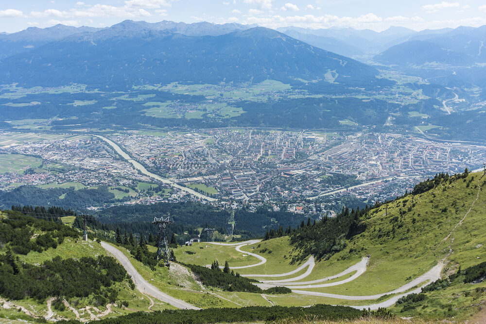 Inn Valley as seen from Nordkette mountain and ski area in Tyrol region nord of Innsbruck in western Austria.