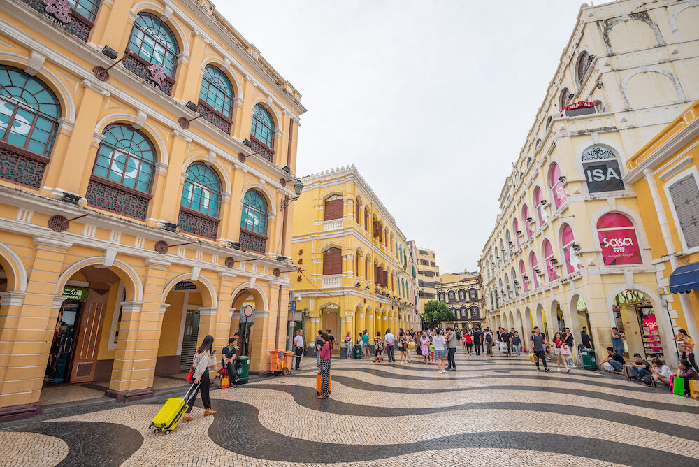 Macua- Historic Centre of Macau-Senado Square in Macau, China. The Historic Centre of Macau was inscribed on the UNESCO World Heritage List in 2005.