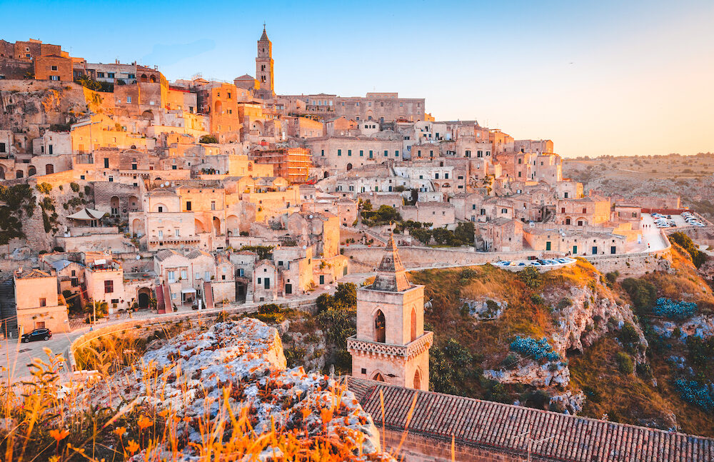 Panoramic view of the ancient town of Matera (Sassi di Matera) in beautiful golden morning light at sunrise, Basilicata, southern Italy