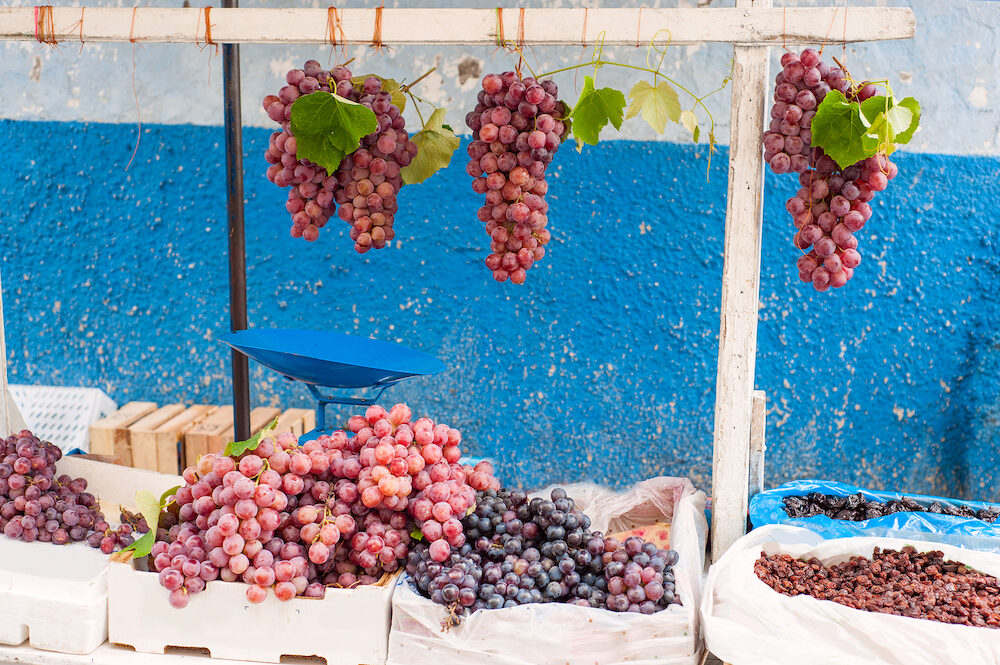 Bunches of grapes on the street market