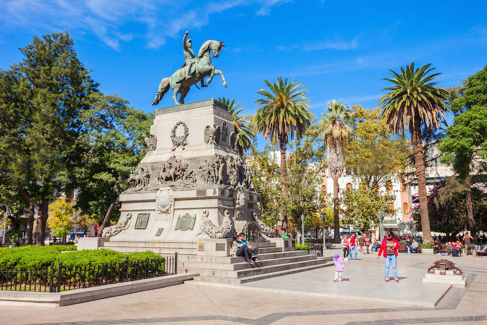 CORDOBA ARGENTINA - General Jose de San Martin monument on Plaza San Martin square in Cordoba Argentina. Jose de San Martin is a hero of the Argentine War of Independence.
