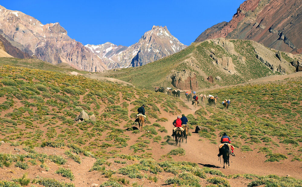 Panoramic view of a group of hikers trekking in the Andes Argentina South America