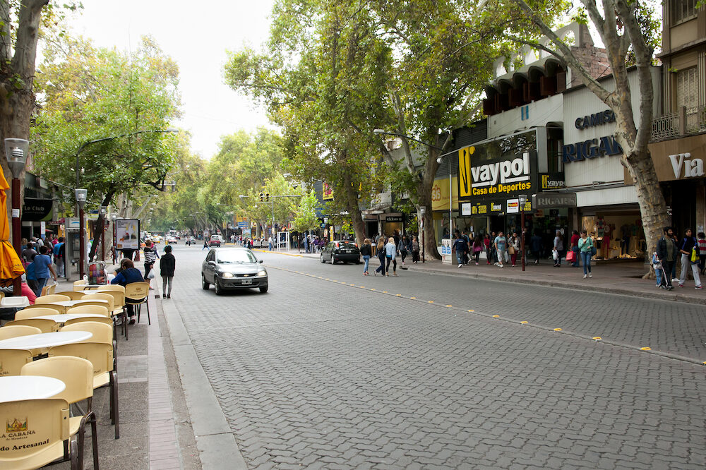 MENDOZA, ARGENTINA - Pedestrians on San Martin Avenue in Argentina 4th largest city