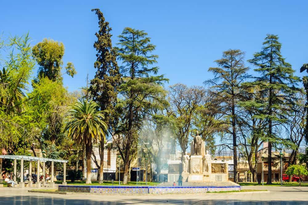 MENDOZA ARGENTINA - Scene of Plaza Espana (Spain Square) with locals and visitors in Mendoza Argentina