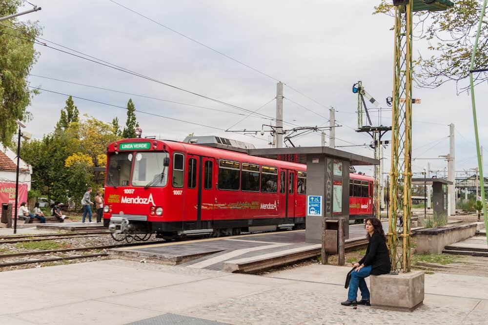 MENDOZA, ARGENTINA - View of Metrotranvia Light Rail train in Mendoza, Argentina
