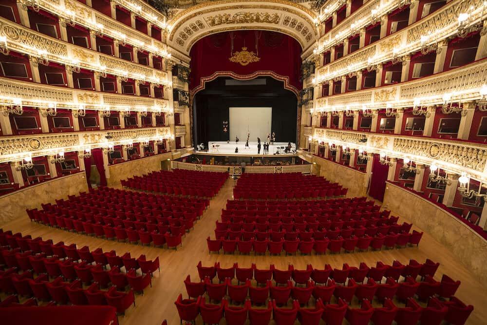 NAPLES, ITALY , Tribute to Giuseppe Verdi on stage of the Teatro di San Carlo, Naples opera house in Naples, Italy.