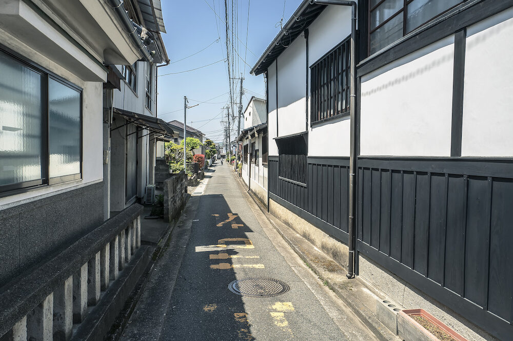 A narrow street with Japanese traditional houses in countryside of Japan