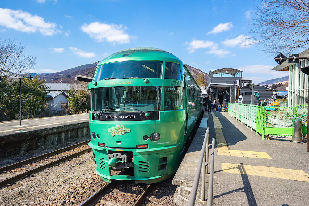 Fukuoka, Japan - Limited Express Yufuin no Mori train are limited express train services operated by Kyushu Railway Company (JR Kyushu) which run from Hakata via Yufuin to Oita and Beppu.