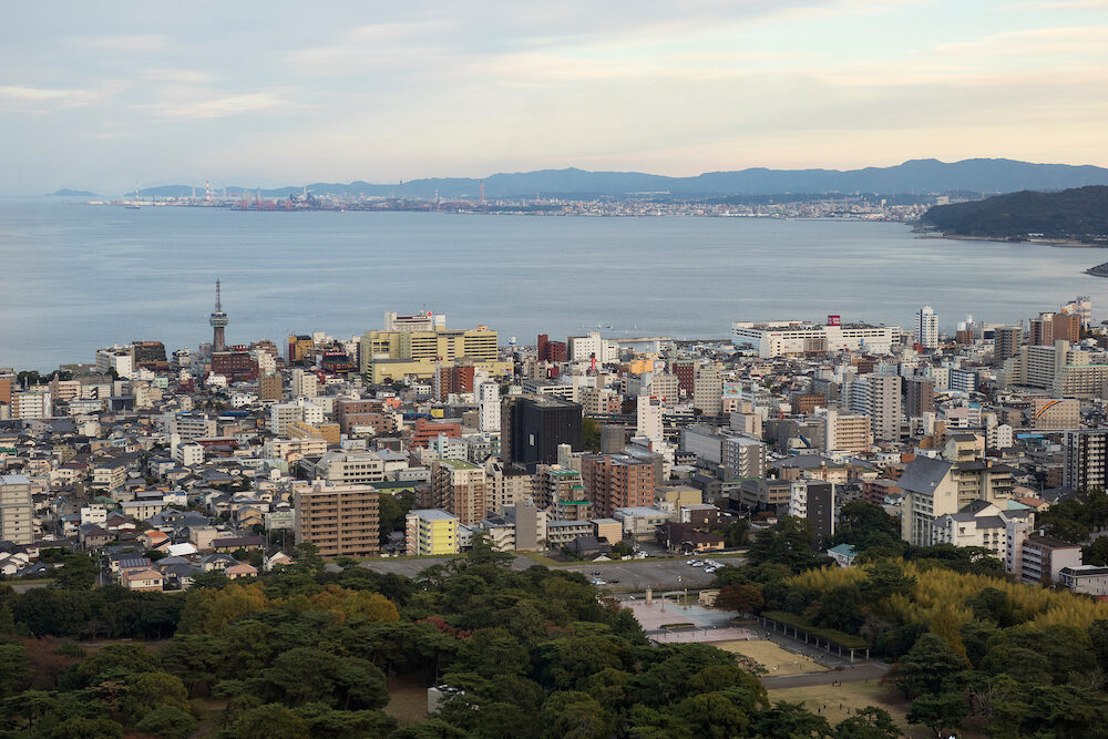Beppu, Japan - View over Beppu city to the sea from the Global tower