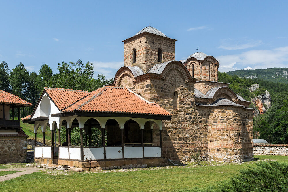 Panoramic view of medieval Poganovo Monastery of St. John the Theologian, Serbia