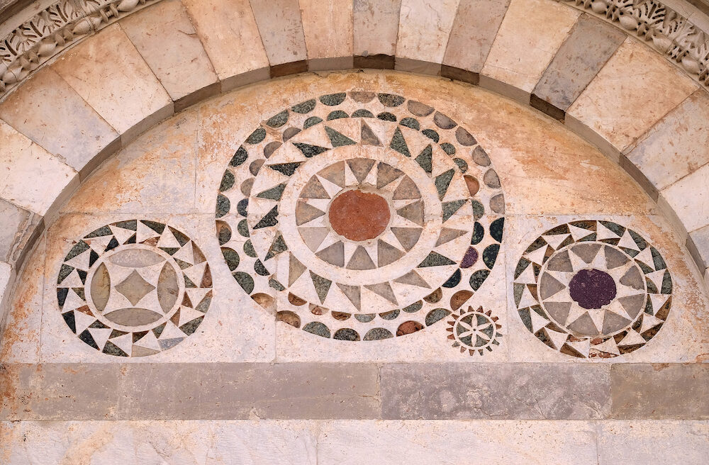 PISA, ITALY - Mosaics in the lunette of the church San Paolo all'Orto in Pisa, Italy