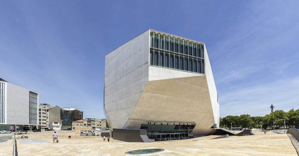PORTO PORTUGAL - View of Casa da Musica - House of Music Modern Oporto Concert Hall the first building in Portugal exclusively dedicated to music designed by the Dutch architect Rem Koolhaas in Porto Portugal