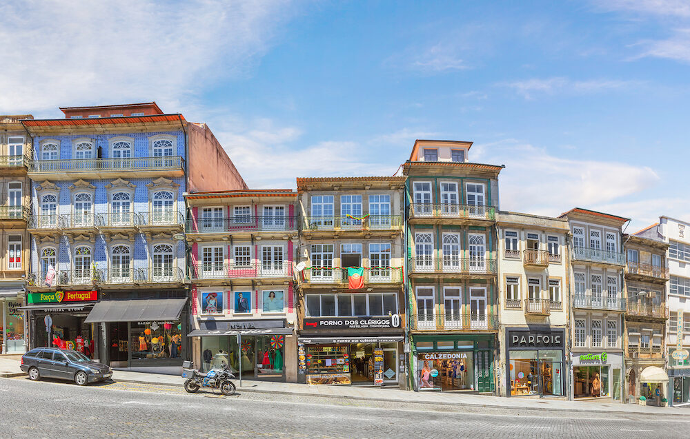 Porto, Portugal - Facades of houses on the Rua dos Clerigos street.