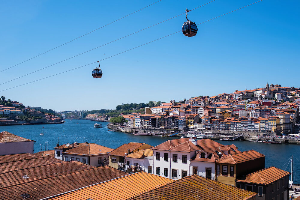 View of Ribeira and overview lifts from Villa Gaia de Nova with the roofs of port wine warehouses in the foreground, Porto, Portugal.