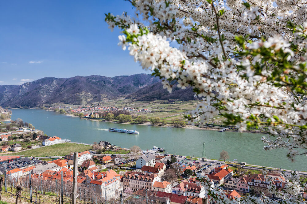 Spring time in Wachau, Spitz village with boat on Danube river, Austria