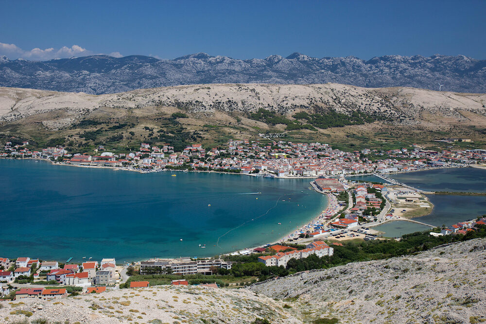 Aerial view of town Pag, Pag island, Croatia