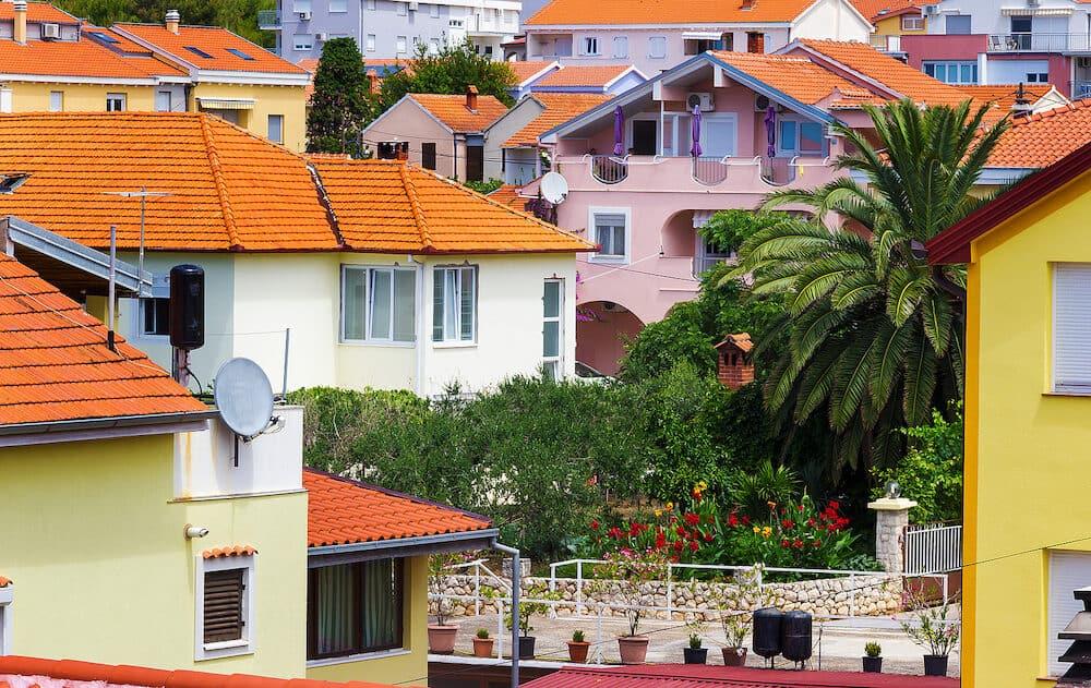 Beautiful mediterranean cityscape with orange houses. Zadar. Croatia