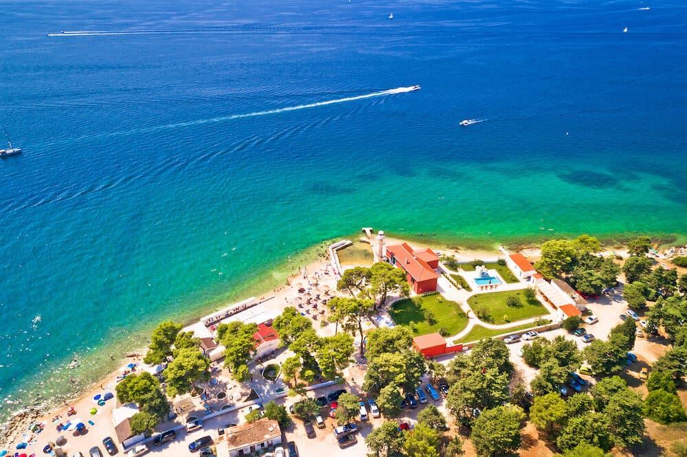City of Zadar Puntamika lighthouse and beach aerial summer view, Dalmatia region of Croatia