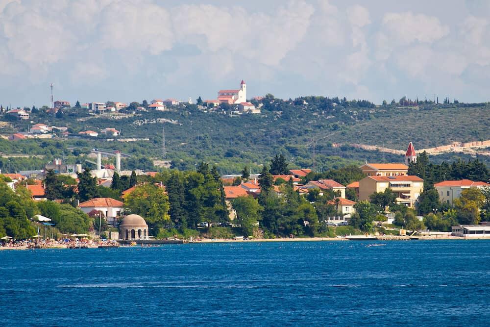 Zadar Kolovare beach and coast view from sea Dalmatia Croatia
