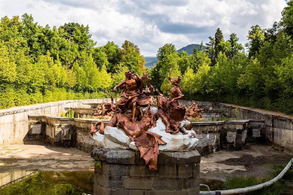 La Granja de San Ildefonso, Segovia, Spain - Fuente de Apolo y Minerva in the gardens of la Granja in Summer.
