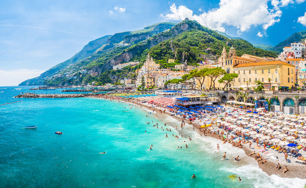 Amalfi, Italy - Landscape with amazing beach of Amalfi town at famous amalfi coast, Italy