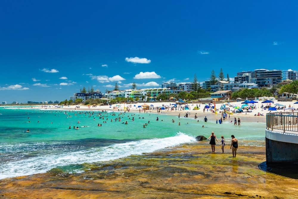 CALOUNDRA, AUS - Hot sunny day at Kings Beach Calundra, Sunshine Coast, Queensland, Australia