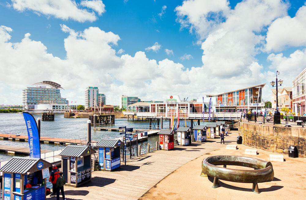 Cardiff, United Kingdom - Panoramic view of Cardiff Bay and Mermaid Quay on a sunny morning in Cardiff, Wales.